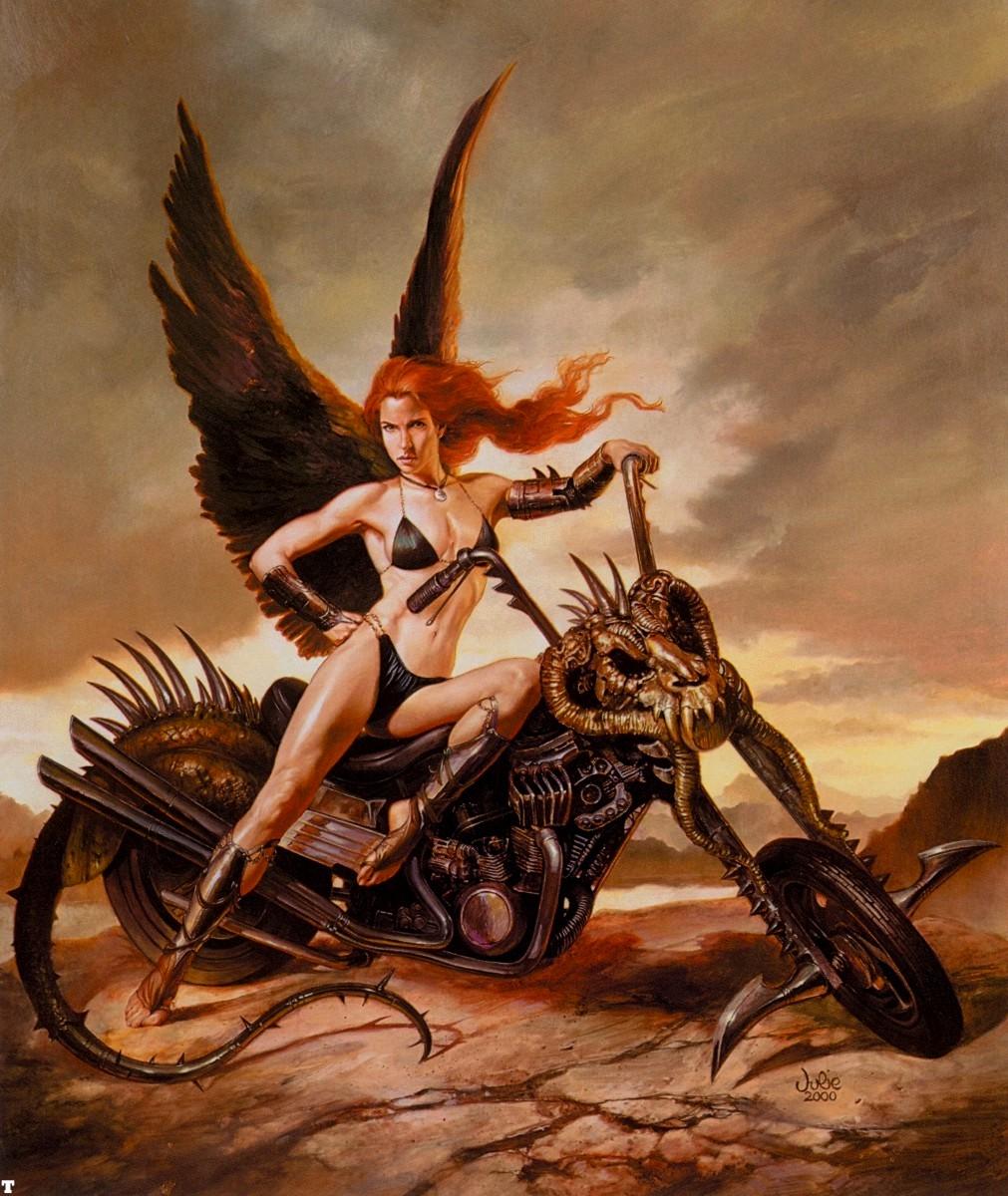Nude women on motorcycle fantasy art hentai doll